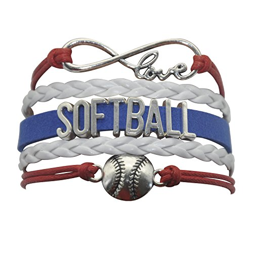 (HHHbeauty Infinity Girls Softball Bracelet Friendship Girls Softball Charm Bracelet for Girls, Women, Teen Including Popular Infinity Love Charm, Letters, Softball Charm (Red White and Blue))