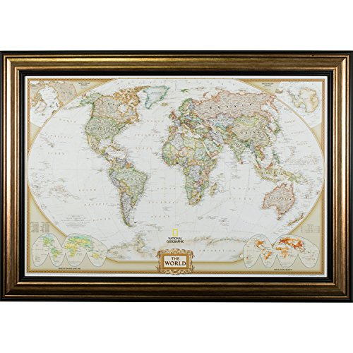 (Craig Frames Wayfarer, Executive World Push Pin Travel Map, Antique Copper and Black Frame with Pins, 24 by 36-Inch)