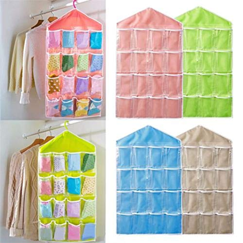 16 Pockets Clear Over Door Hanging Bag Hanger Storage Tidy Organizer for Home Bathroom Living Room Household Sundries
