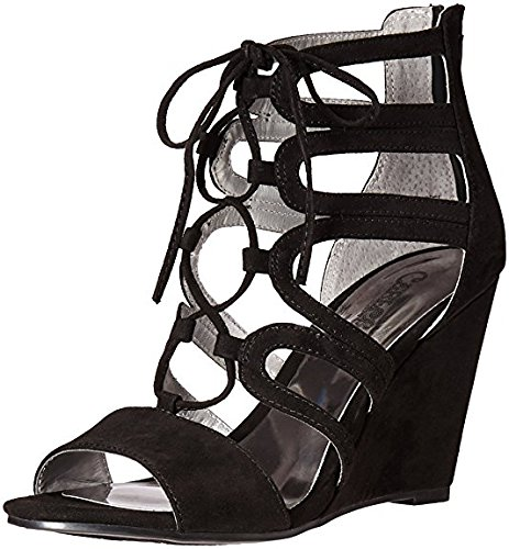 Fabric Lace Up Wedges (Carlos by Carlos Santana Women's Madelyn Wedge Sandal, Black, 10 M US)