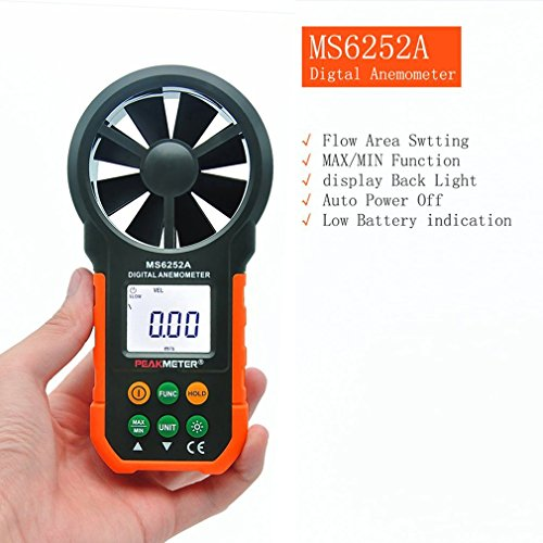 - 1x Professional Wind Speed Test Meter Multifunction Digital Anemometer Tachometer/Air Volume HYELEC MS6252A