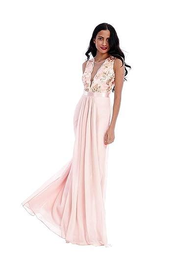 69fcf2cc079 Goddiva Women's Sequin V-Necked Chiffon Maxi Prom Party Dress ...