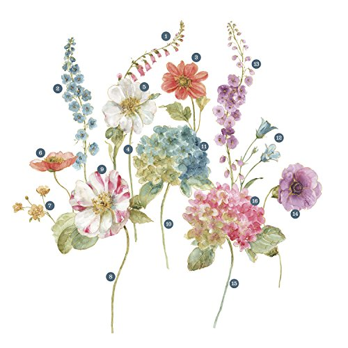 RoomMates Lisa Audit Garden Flowers Peel And Stick Giant Wall Decals by RoomMates (Image #1)
