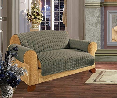 Elegance Linen Quilted Pet Dog Children Kids Furniture Protector Microfiber Slip Cover Sofa, Green by Elegance Linen