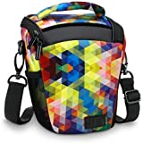 USA Gear SLR/DSLR Camera Case Bag with Top Loading Accessibility, Adjustable Shoulder Sling, Padded Handle, Removeable Rain Cover & Weather Resistant Bottom - Geometric