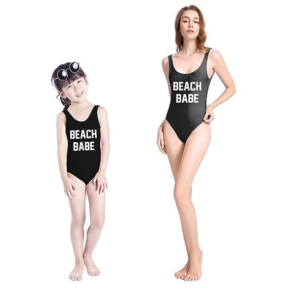 Amazon.com: Mamá y Bebé Niña Hija a juego Playa Babe Traje ...