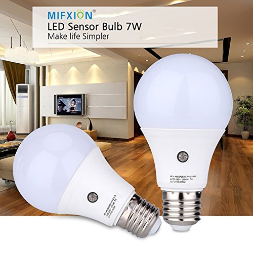 2 Pack Dusk to Dawn Light Sensor Bulb, E27 7W Lamp Post, Sensor Security Bulb Fence Post Light Outdoor with Photosensor Detection Indoor Lighting Lamp for Porch Hallway Patio Garage Cool White 6000K