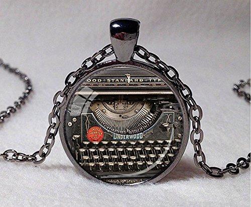 Vintage máquina de escribir grabadora de colgante collar de regalo para joyería grabador máquina de escribir del escritor negro rojo gris Vintage teclado ...