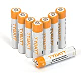 TYBATT 8-Pack Rechargeable AAA Batteries 1000mAh Ni-MH Rechargeable Batteries High Performance 1200 Cycle, Battery Case Included