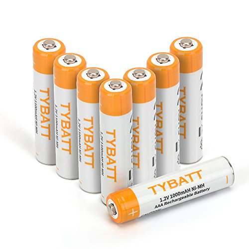 TYBATT Rechargeable Batteries AAA 1000mAh(8-Pack), Precharged Batteries Nimh for Remote Controls ,Toys,Solar Lights,Flashlights ()