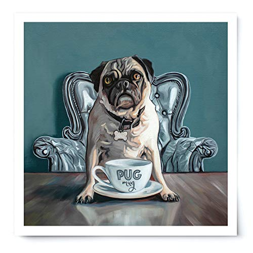 (Pug and Coffee Mug - Artist Signed Oil Painting Giclée Print Modern Home Office Wall Art Decor - Variety of Sizes Available)
