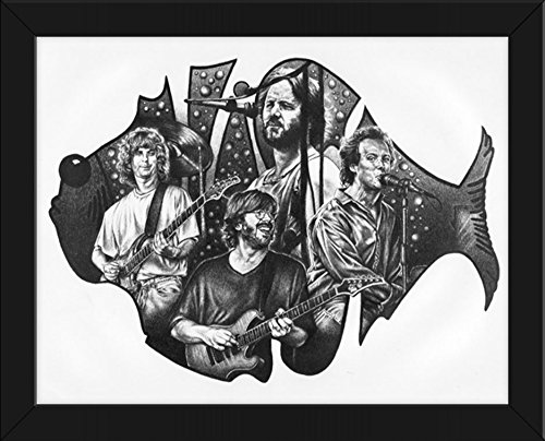 Phish Original Sketch Prints – FRAMED – Black  White – Features Jon Fishman, Trey Anastasio, Mike Gordon and Page McConnell . Print of Highly-Detaile…