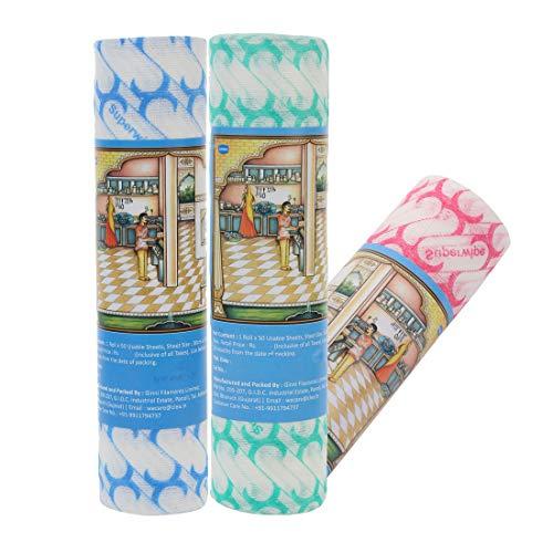 Ginni 6 Non Woven Fabric Reusable & Washable Kitchen Swipe Tissue/Towel Rolls Multi-Purpose Household Sheets (50 Pulls…