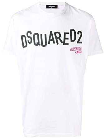 529d5e00 Image Unavailable. Image not available for. Color: DSQUARED2 Men's  S74gd0501s22427100 White Cotton T-Shirt