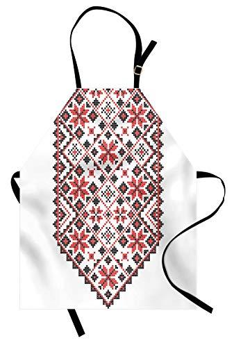 Lunarable Ethnic Apron, Ukrainian Embroidery Style Floral Ornamental Nostalgic Vintage Artisan Design, Unisex Kitchen Bib Apron with Adjustable Neck for Cooking Baking Gardening, Dark Coral (Coral Embroidery)