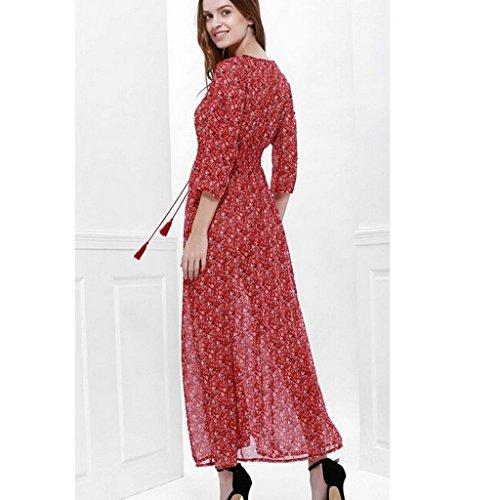 Et Femme Maxi de Dcontract en Mousseline Longue Floral Sexy Robe Soie qTTwAtp