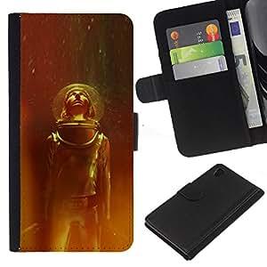 A-type (Traje espacial Viajes Estrellas Universo Casco Cosmos) Colorida Impresión Funda Cuero Monedero Caja Bolsa Cubierta Caja Piel Card Slots Para Sony Xperia Z4v / Sony Xperia Z4 / E6508