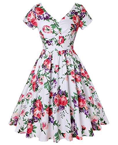 ROOSEY Women's 1960's Retro Floral Swing Dress 50's Vintage Dress with Pockets