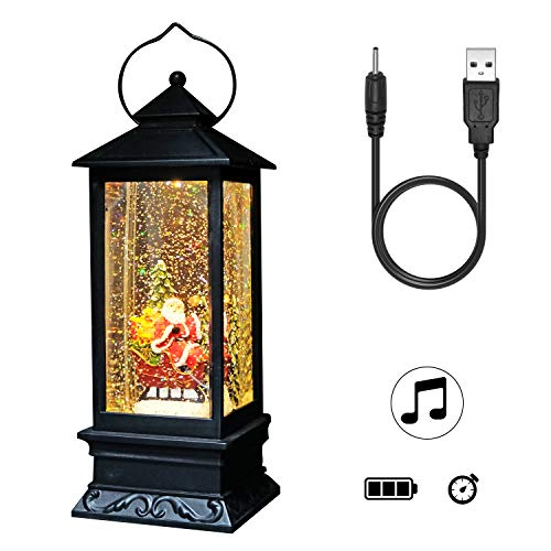 DRomance Lighted Water Lantern Glittering with Music Battery & USB Powered Santa Claus Singing Snow Globe for Kids, Water Snow Glitter Globe for Christmas Decoration, 12 Inch Tall