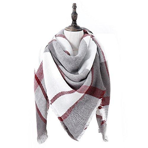- Women's Soft Warm Plaid Tartan Scarf Fall Winter Checked Blanket Wrap Shawl Pashminas (Grey red)