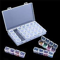 Caja de Almacenamiento de 28 Rejillas Transparente Cajas de Almacenamiento de Cuentas Diamantes Joyero Pendientes Gancho de Pesca Pintura Organizador 28 Grids Storage Case Diamond Beads Storage Boxes