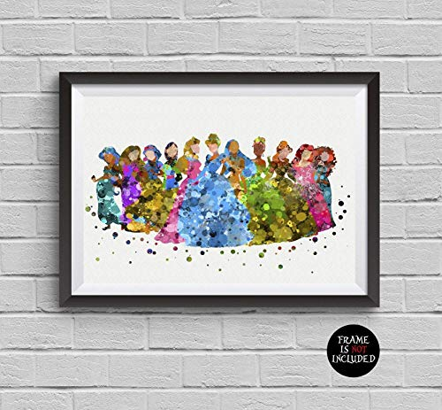 Disney Princess Watercolor Print Belle Cinderella Snow White Ariel Elsa Poster Artwork Wall Art Home Decor Wall Hanging