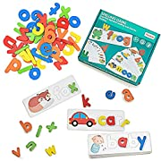 #LightningDeal LIKEE Wooden See and Spell Matching Letter Puzzles CVC Word Builders Sight Word Flash Cards Color Recognition Games Montessori Preschool Educational Toys for Kids 3+Yr Old (28 cards,52 Blocks,1 Bag)