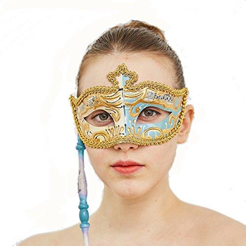 Ladies Venetian Eye Mask Colombina Ombra for Mardi Gras Musical Checkered (Light Blue) -