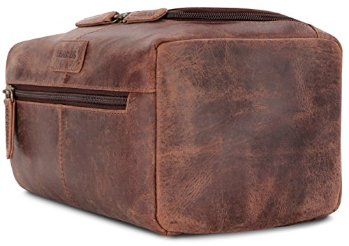 LEABAGS Palm Beach genuine buffalo leather toiletry bag in vintage style - Nutmeg by LEABAGS (Image #2)