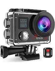 Campark Action Cam 4K WiFi 16MP Ultra HD Helmkameras unterwasserkamera mit Handgelenk Fernbedienung 2 Batterien Zubehör-Kits Kompatibel mit gopro