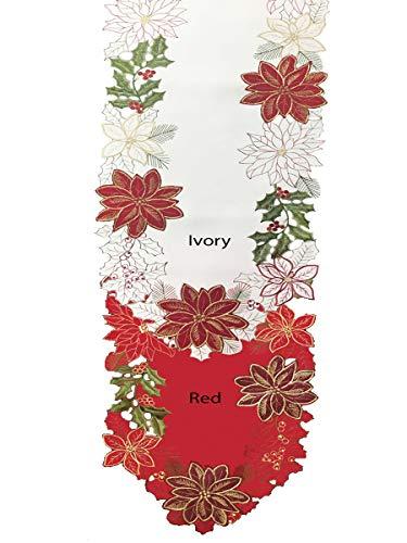 - Newbridge Pristine Poinsettia Embroidered Applique Fabric 70 inch Table Runner, Luxury Holiday Xmas Scalloped Table Runner, 70 Inch Long Table Runner, Red