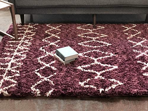 Well Woven Nomad Parley Modern Moroccan Trellis Maroon Soft Fluffly Shag Area Rug 5'3″ x 7'3″