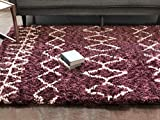"Well Woven NO-10-4 Nomad Parley Modern Moroccan Trellis Maroon Soft Fluffly Shag Area Rug 3'11"" x 5'3"""