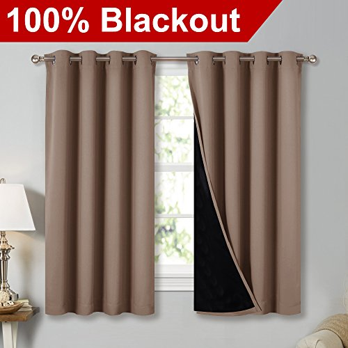 NICETOWN Total Blackout Panels for Nursery, Super Soft, Heavy Duty and Thick Window Treatment Curtains 63 Inches Long with Black lined for Basement, Grommet Top (1 Pair, Taupe, 52