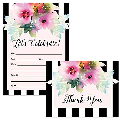 All Occasion Invitations & Matching Thank You Notes with Envelopes (100 of Each) Watercolor Flower Blooms & Stripe Design Any Event Guest Invites & Gift Thank You Cards Best Value Combination Set