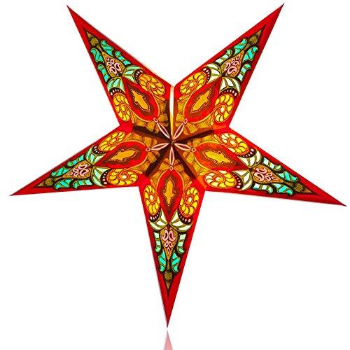 Happy Sales HSSL-FBBLRD Babylon Paper Star Lantern Red, (Paper Star Lantern)