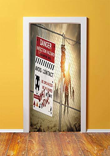 Zombie Decor 3D Door Sticker Wall Decals Mural Wallpaper,Dead Man Walking Dark Danger Scary Scene Fiction Halloween Infection Picture,DIY Art Home Decor Poster Decoration 30.3x78.15636,Multicolor]()