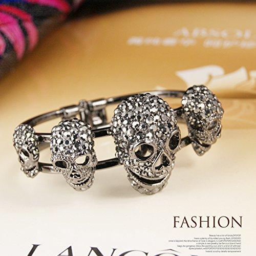 EVBEA Gothic Jewellery Punk Style Arthritis Bracelet with Crystal Skull Bead Bangles Gold Bracelet for Women jEsraNkUiU