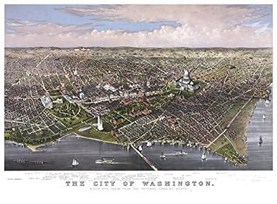 Washington D.C. Lithograph, Washington from the Potomac, c1880