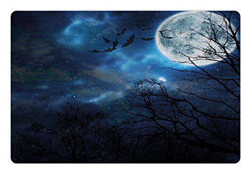 Lunarable Halloween Pet Mat for Food and Water, Bats Flying in Majestic Night Sky Moon Nebula Mystery Leafless Trees Forest, Rectangle Non-Slip Rubber Mat for Dogs and Cats, Blue Black White ()