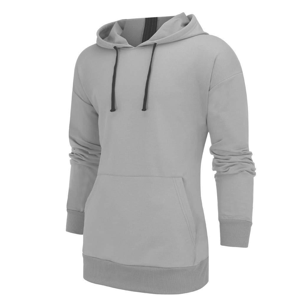 Mens Outdoor Hoodies Lightweight Half-Zipper Solid Pullover Casual Comfortable Kangaroo Pocket Sweatshirts