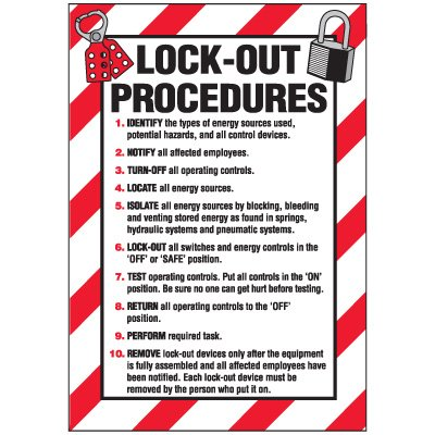 Vinyl Lock-Out Labels - Lock-Out Procedures - 2-1/2''h x 1-3/4''w, White LOCK-OUT PROCEDURES# - Super-Stik Adhesive