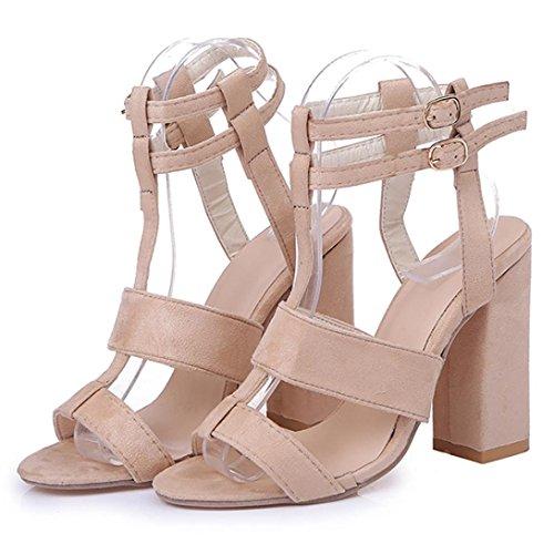 Single bloc à de parti Peep lanières épais cheville Toe Shoe boucle talon Womens la sandales haut dames Bovake Iqwapa