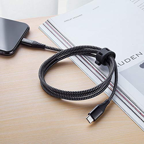 ESR USB C to Lightning Cable, [3.3 ft MFi-Certified], Braided Nylon Power Delivery Fast Charging Cable for iPhone 11/11 Pro/11 Pro Max/XR/XS Max/XS/X/8/8 Plus, for Use with Type C Chargers, Black