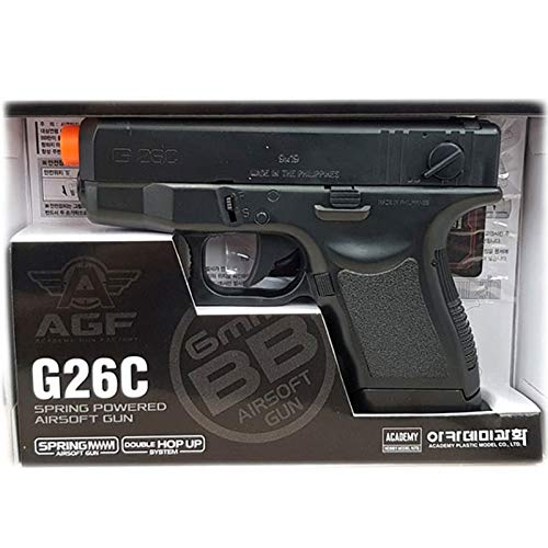 Academy Plastic Model G26C Spring Powered Airsoft BB Gun with Double Hop Up System 17235, Black ()