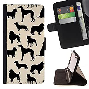 For Motorola Moto X 3rd / Moto X Style Dog Species Pattern Black Beige Style PU Leather Case Wallet Flip Stand Flap Closure Cover