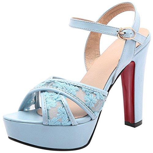 Azbro Mujer Sandalias de Tacón Alto Floral de Plataforma con Puntera Abierta Azul