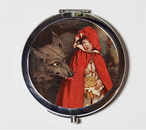 Little Red Riding Hood Compact Mirror Storybook Children's Story Big Bad Wolf Make Up Pocket Mirror for (Big Bad Wolf Makeup)