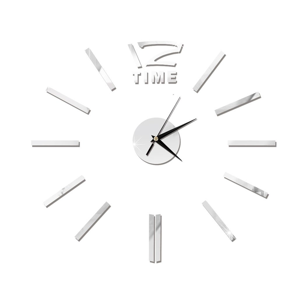 Nessere 3D DIY Wall Clock, Modern Frameless Large Wall Clock Mirror Sticker Home Office Deco (Silver)