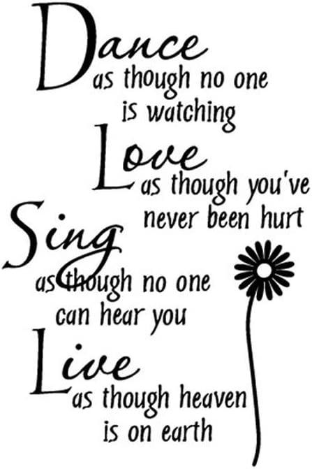 Dance Love Sing Live Wall Quotes Decal Removable Stickers Decor Vinyl Art DIY Home Decor Wall Decals for Bedroom Women